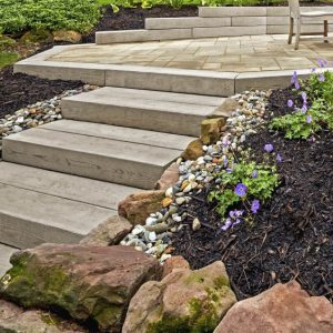 Borialis Step, techo bloc walls, retaining wall systems, landscaping products