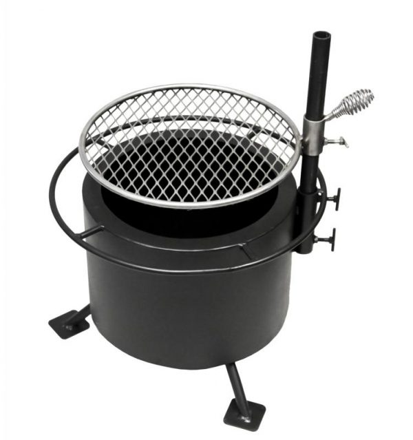 double flame smoke less fire pit, stainless steel swing away grill, tabletop lid, grills and inserts, fire pits, landscaping products