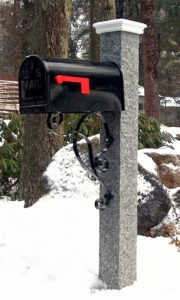 Granite Mailbox Post Wood Cap, granite post and benches, stone, stone products