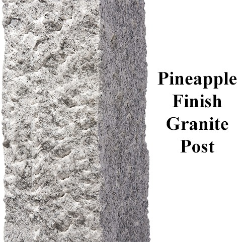 Pineapple Finish, granite post and benches, stone, stone products