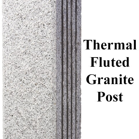 Thermal Fluted, granite post and benches, stone, stone products