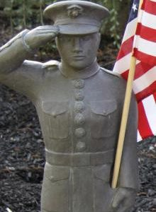Air Force garden statue with American flag by Massarelli, armed forces, statuary