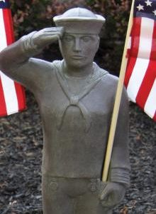 Navy garden statue with American flag by Massarelli, armed forces, statuary