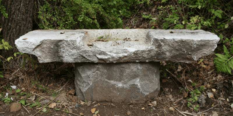 Salvaged Granite Bench
