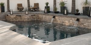 Silver Travertine Pool Veneer